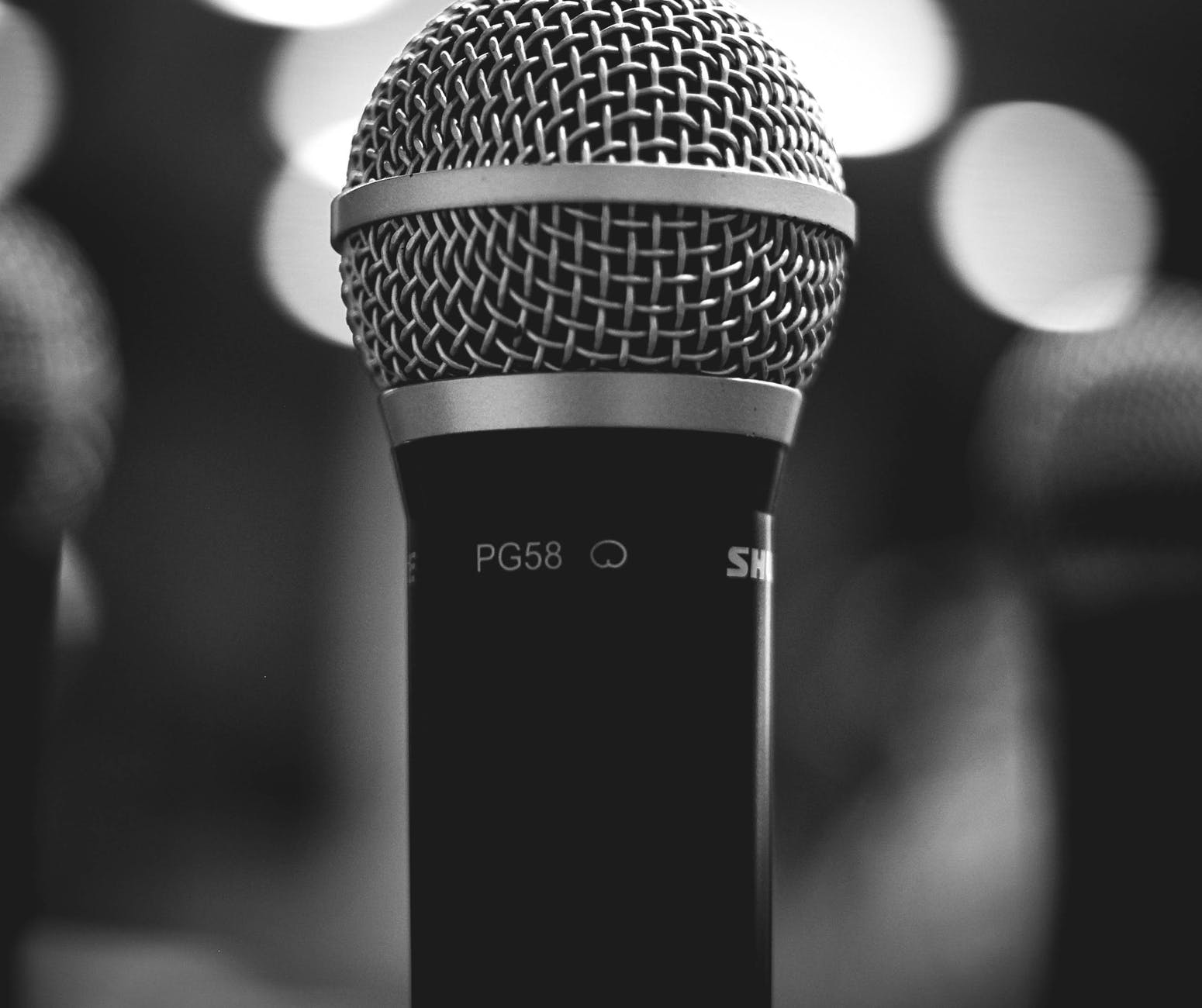 black and white black and white close up mic